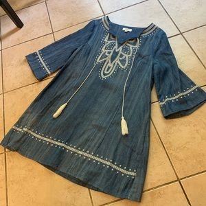 Umgee Denim/Linen Boho Dress